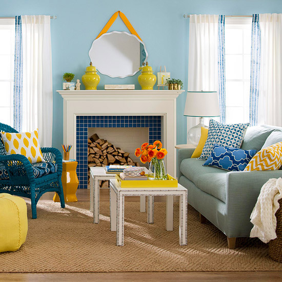 Home d cor in blue and yellow nidhi saxena 39 s blog about for Yellow and blue living room ideas
