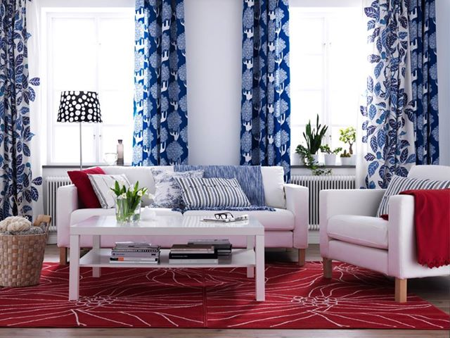 Red white blue decor nidhi saxena 39 s blog about patterns colors and designs for Red and blue living room ideas