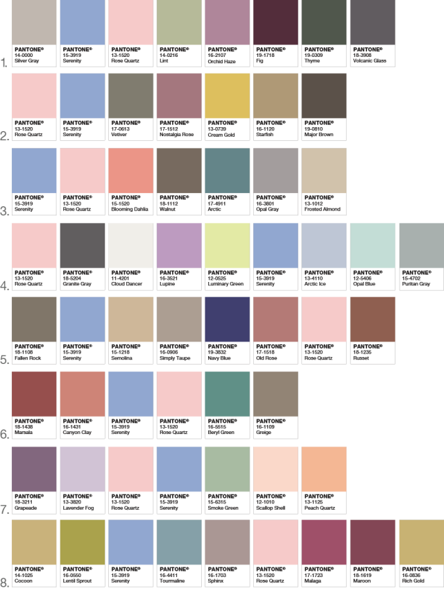 Color Combinations using Rose Quartz and Serenity